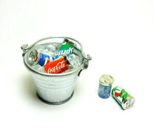Dollhouse-Miniature-Bucket-Pail-Ice-cubes-amp-5-Soda-Cans-set-Bar-Drink-Decor-1-12