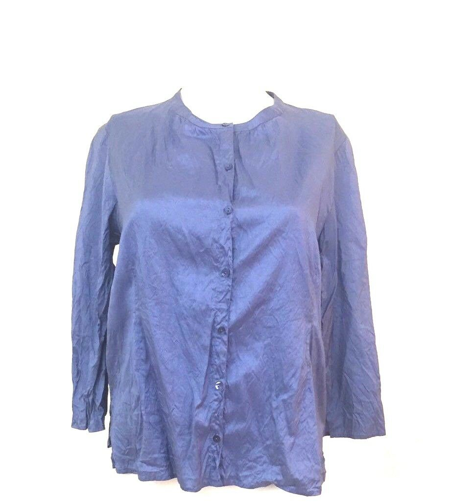 Eileen Fisher Crinkle Silk Blouse bluee Purple Peasant Button Petite Small P (A6)