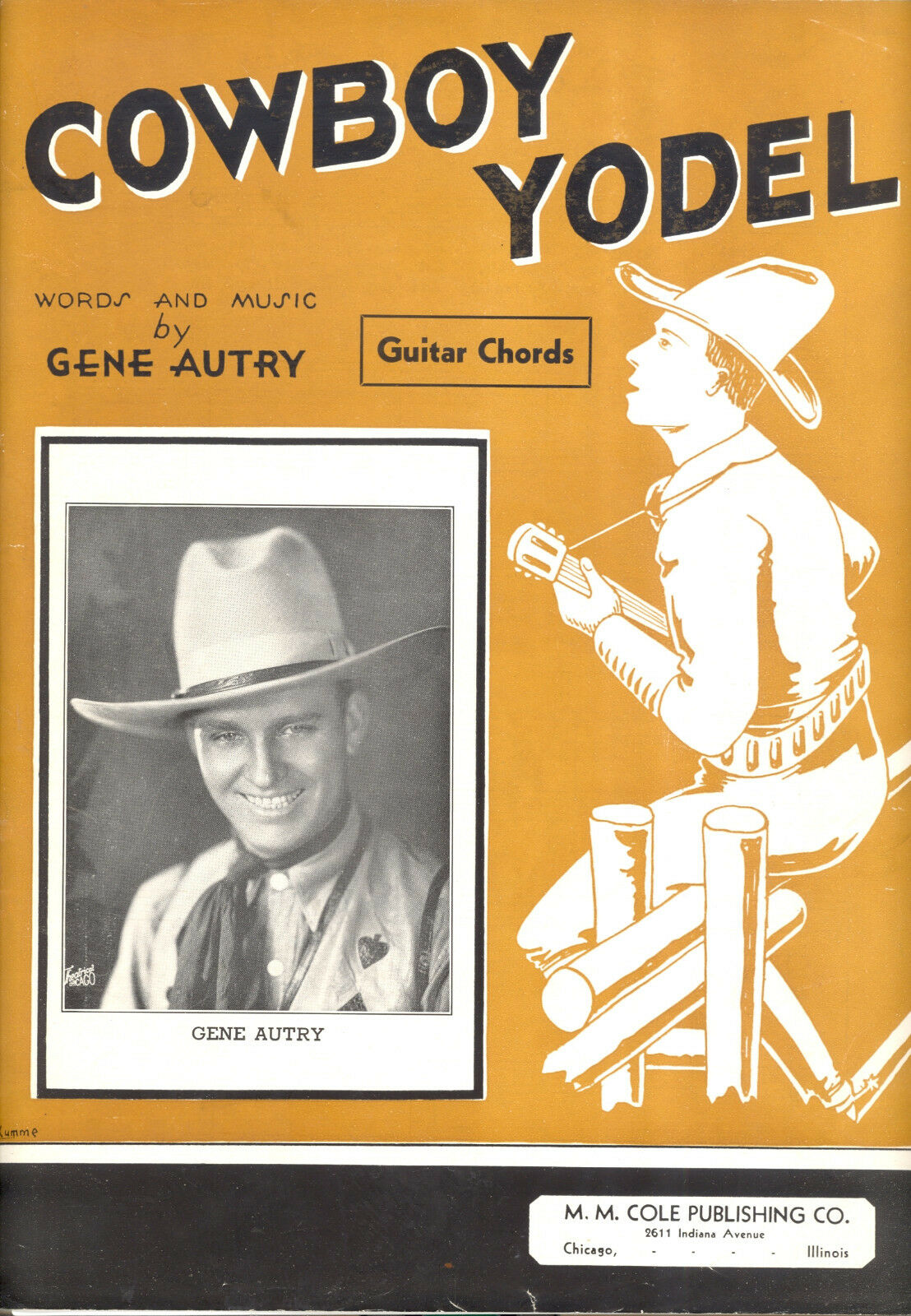 GENE AUTRY Sheet Music  Cowboy Yodel  1932 With Guitar Chords