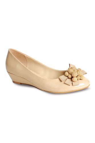 Devant Chaussure Bas Noeud Femmes Compensé Le Sur Talon Verni Confortable Fleur x0advqdngw