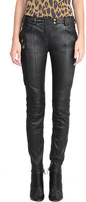 New Genuine Nappa Leather Skinny Biker Pants Quilted Ribbe Mid Rise Zipper Women