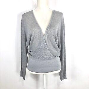 Cache-Silver-Grey-Loose-Knit-Sparkle-Long-Sleeve-Crisscross-Sweater-Size-L