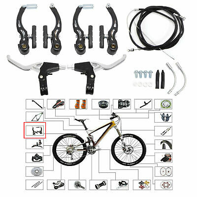 Complete V-Brake Set BMX Mountain Bike Alloy Levers V-Brakes Cables Front+Rear