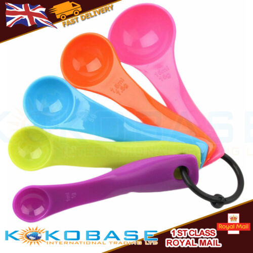 UK 5-Pcs-Colorful-Plastic-Measuring-Spoons-Set-Kitchen-Utensil cooking baking uk