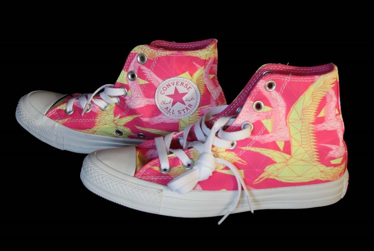 Converse Trendy Neon Pink & Yellow BIRDS OF PARADISE HI TOP Shoes NWT DISC VHTF