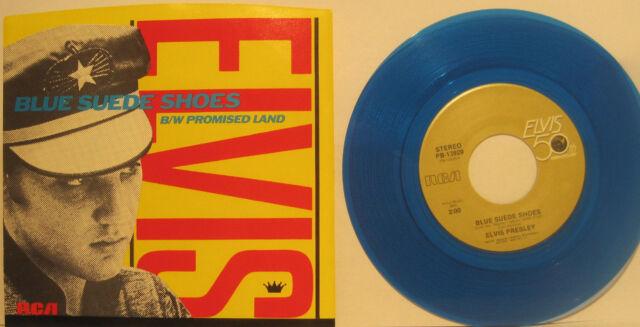 """Elvis Presley """"Blue Suede Shoes"""" Blue Vinyl 45rpm w/ PS  NM Cond Store Stock"""