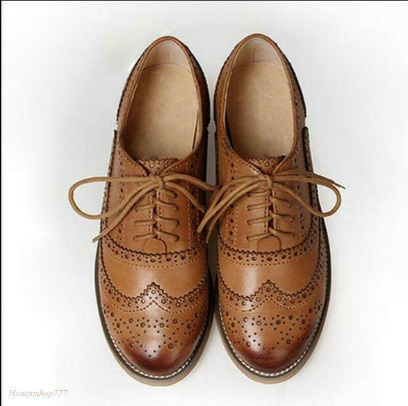 Wouomo Real Leather Flat Oxfords Brogues Wingtip Lace Up sautope Casual sautope nuovo