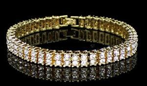 Mens-Womens-2-Row-Simulated-Diamond-Tennis-Bracelet-14k-Gold-Plated-8-inch