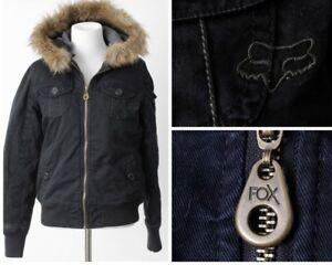 da sintetica Cappuccio corsa S nero piccolo in donna Cappotto pelliccia Fox da dgXP8x