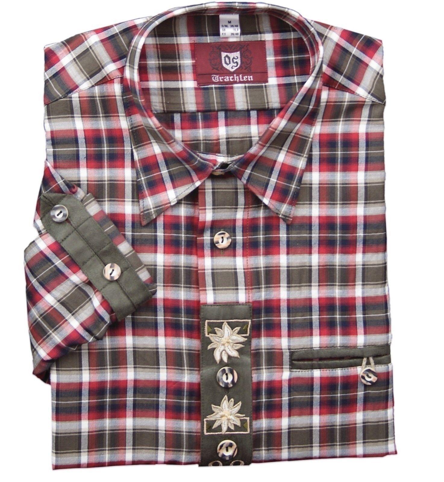 Trachtenhemd Hemd Krempelärmel Trachten Oktoberfest kariert rot oliv OS-TRACHTEN | Großer Verkauf  | Qualität Produkte  | Einfach zu spielen, freies Leben  | Reichlich Und Pünktliche Lieferung  | New Listing