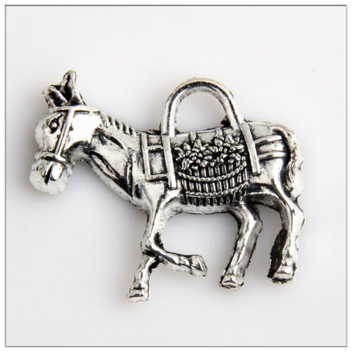 8 Big Horse Tibetan Silver Charms Pendants Jewelry Making Findings 32mm 19E5C3F