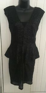 BNWT-COTTON-CLUB-BLACK-SEQUIN-PEPLUM-DRESS-UK-10-AB