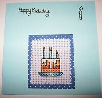 "Birthday Card Completed Cross Stitch Birthday Cake 5.5"" sq"