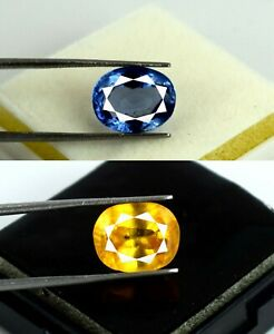 Blue & Yellow Sapphire Oval 13-15 Ct Gemstone Natural Unheated Pair Certified