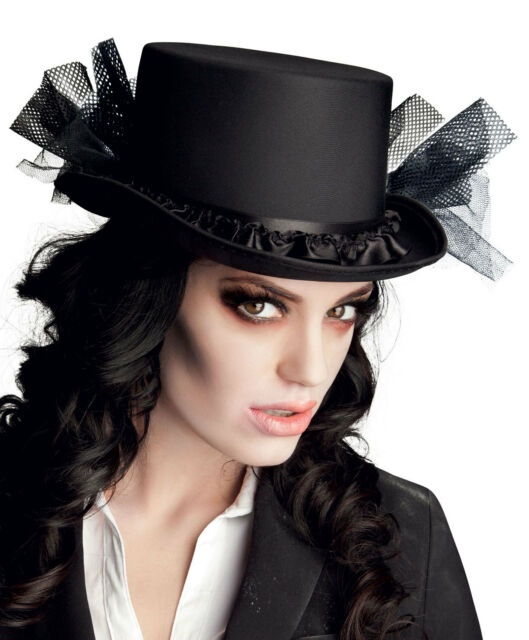 Ladies Victorian Black Top Hat Burlesque Riding Gothic Halloween Vampire  for sale online  a3a79e64e5e