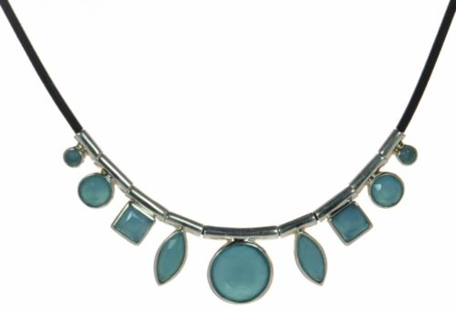 Details about  /Whitney Kelly WK Solid 925 Sterling Silver Aqua Chalcedony Rubber Necklace .