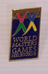 2002-WORLD-MASTERS-GAMES-MELBOURNE-SOUVENIR-METAL-ENAMEL-BADGE-LAPEL-BROOCH-PIN