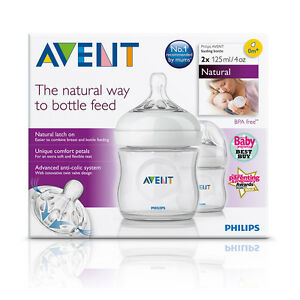 Avent-Natural-Clear-Feeding-Bottle-125ml-0m-Teat-2-Pack-Brand-New-Baby