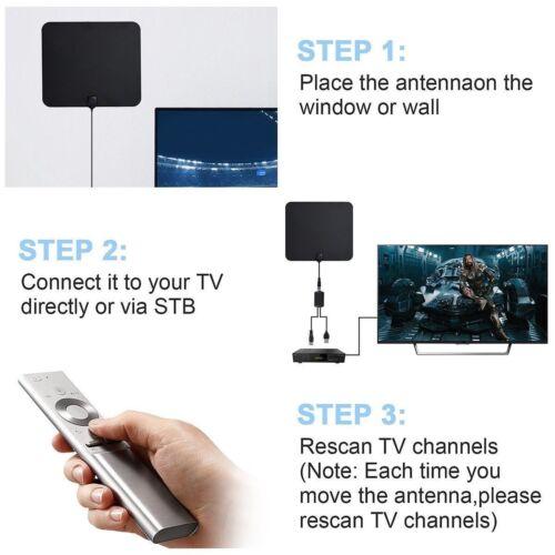 TV Antenna 300 Miles Range Thin Flat Indoor Detachable Amplified HD High TV Fox