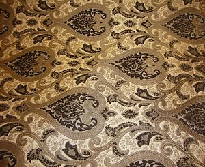 Chenille-upholstery-56-034-Wide-Monte-Cristo-dark-Brown-Damask-with-Fabric-Gold