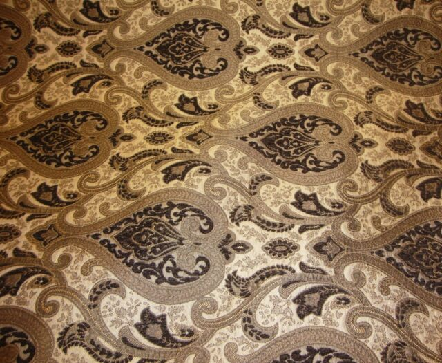 """Chenille upholstery 56"""" Wide Monte Cristo dark Brown Damask with Fabric Gold"""
