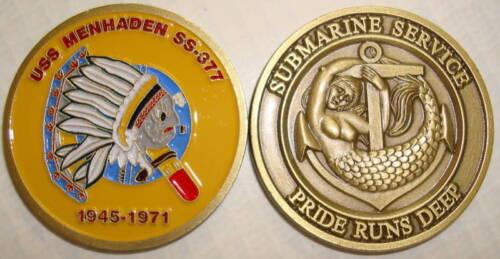 USS Menhaden SS 377 Submarine Coin Sub Mermaid USN