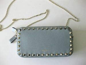 Valentino-AUTH-NWT-Rockstud-Nube-Blue-Grained-Leather-Crossbody-Chain-Pouch-Bag