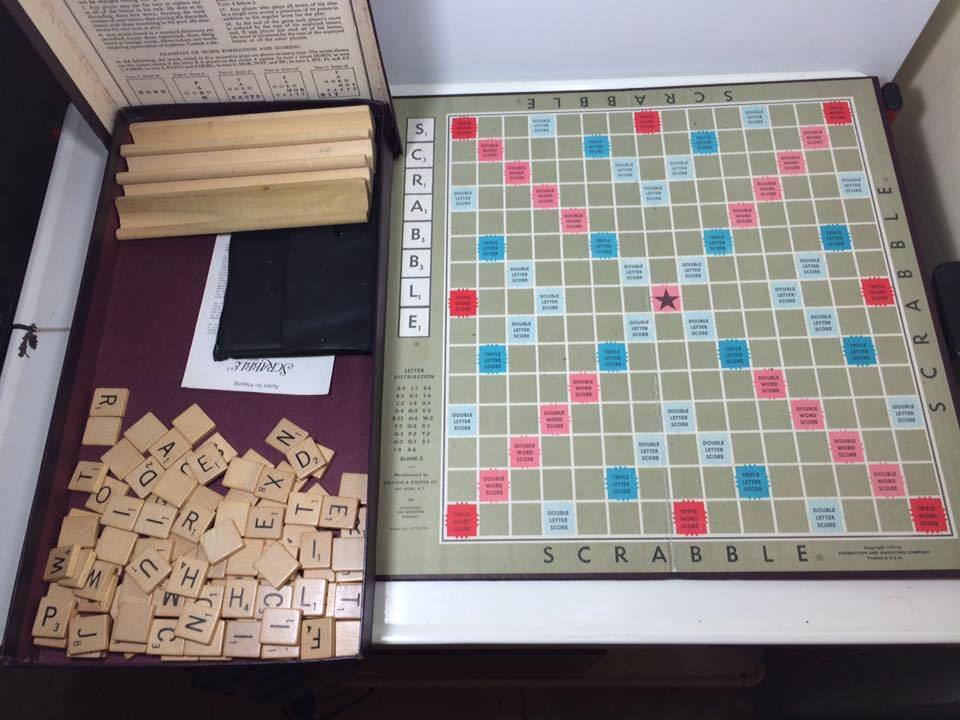 1948 Scrabble board game with a small travel set