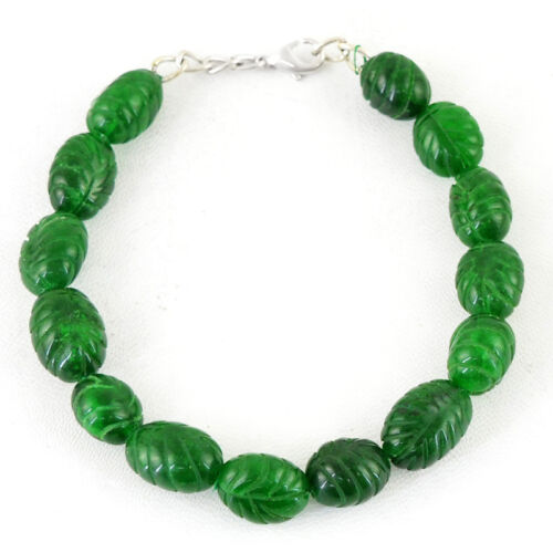 172.10 CTS EARTH MINED RICH GREEN EMERALD OVAL SHAPED CARVED BEADS BRACELET