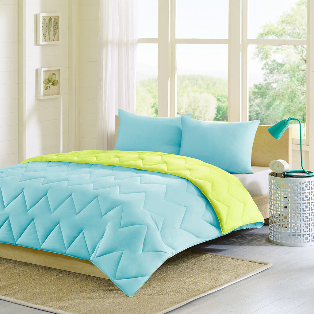 BEAUTIFUL REVERSIBLE SOFT MODERN Blau Grün LIME AQUA TEAL TEXTURE COMFORTER SET