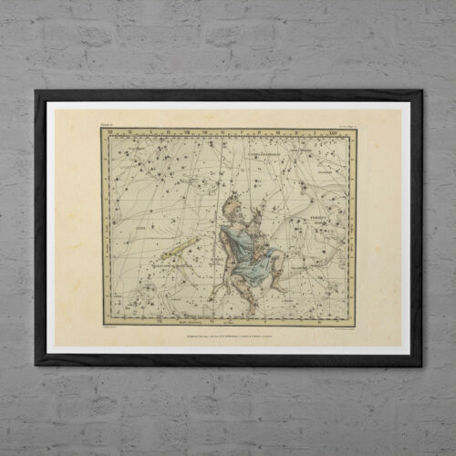 Professional Reproduction AURIGA Map Print ZODIAC Map Art Print Vintage St