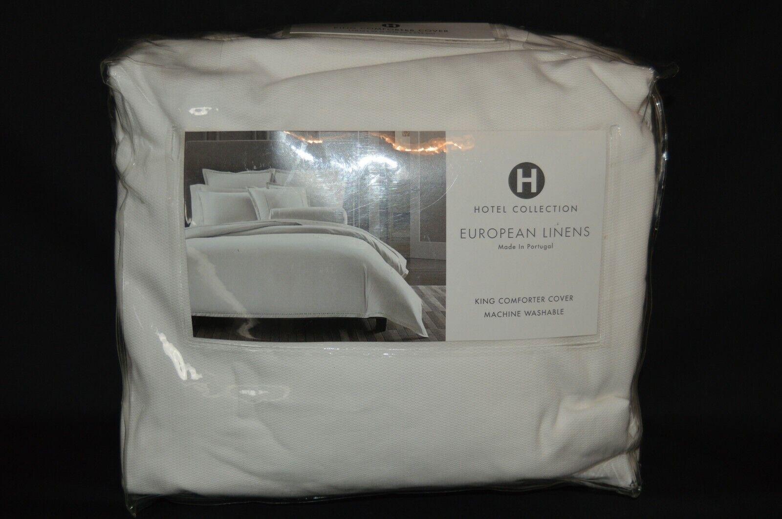 Hotel Collection European Linens LADDER STITCH King Duvet Comforter Cover WHITE