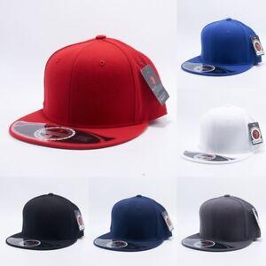Plain Fitted Wool Blend Flat Bill Cap Visor Baseball Blank Solid Hat ... 42bb7c69045