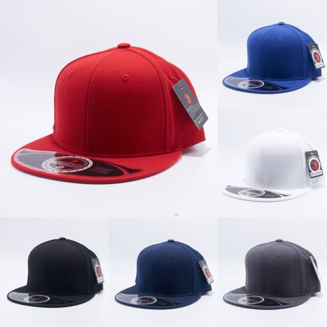 e6981b1cc Plain Fitted Wool Blend Flat Bill Cap Visor Baseball Blank Solid Hat Sport  Color