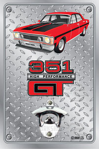 Pop-A-Top-Wall-Mount-Bottle-Opener-Metal-Sign-Ford-XW-GT-Track-Red