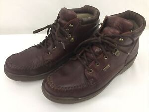 ROCKY Brown Leather Lace Up Ankle Casual Shoes Boots Men's Size 9M Made In USA