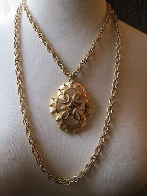 VTG Couture Trifari Pendant Necklace Double Chain Thick Gold Plated Designer EUC