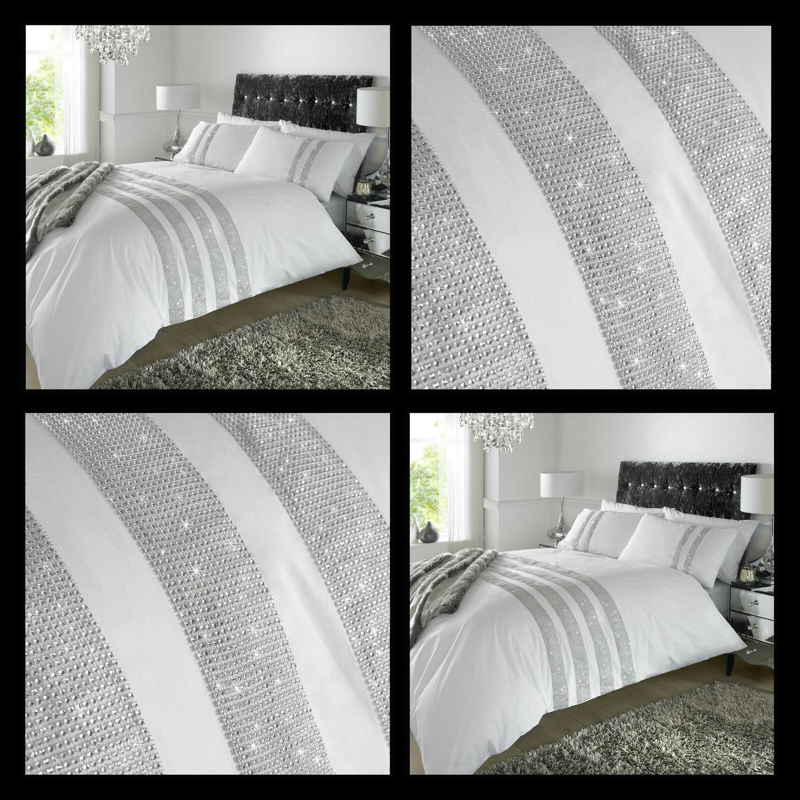 Duvet Cover Diamante Crystal Weiß Detail Quilt Bedding Set Percale Fabric