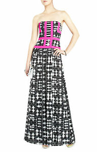 NEW-BCBG-MAX-AZRIA-BLACK-WHITE-COMBO-GRACELYN-STRAPLESS-IPG6U626-GOWN-SIZE-4
