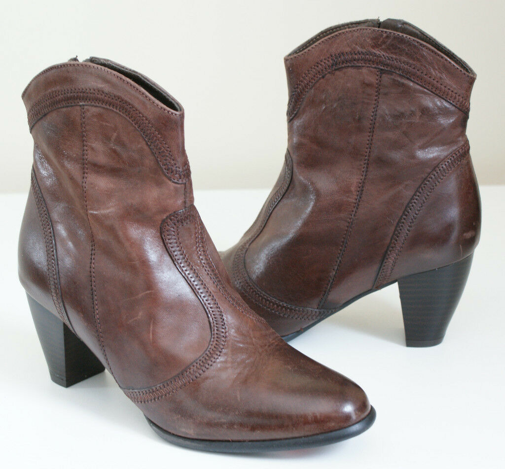$375 SESTO MEUCCI ACEY Tan Leather ANKLE Zip BOOTS Womens 7 NEW IN BOX