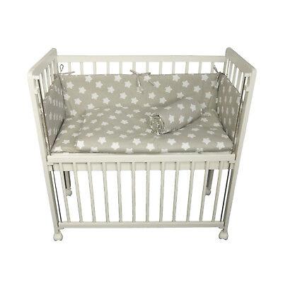 Beistellbett-Babybett-Absenkbarer-Seite-90x40-cm Matratze Bettlaken-Rädern-weiß