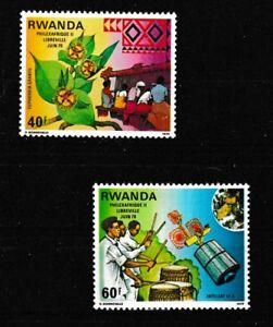 Philatelic Exhibition mnh set of 2 stamps 1979 Rwanda #913-4 Weavers Drummers