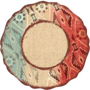 Image is loading Melamine-Dinnerware-Plates-Plastic-Sets-of-4-Dinner-  sc 1 st  eBay & Melamine Dinnerware Plates Plastic Sets of 4 Dinner Plates Southwest ...