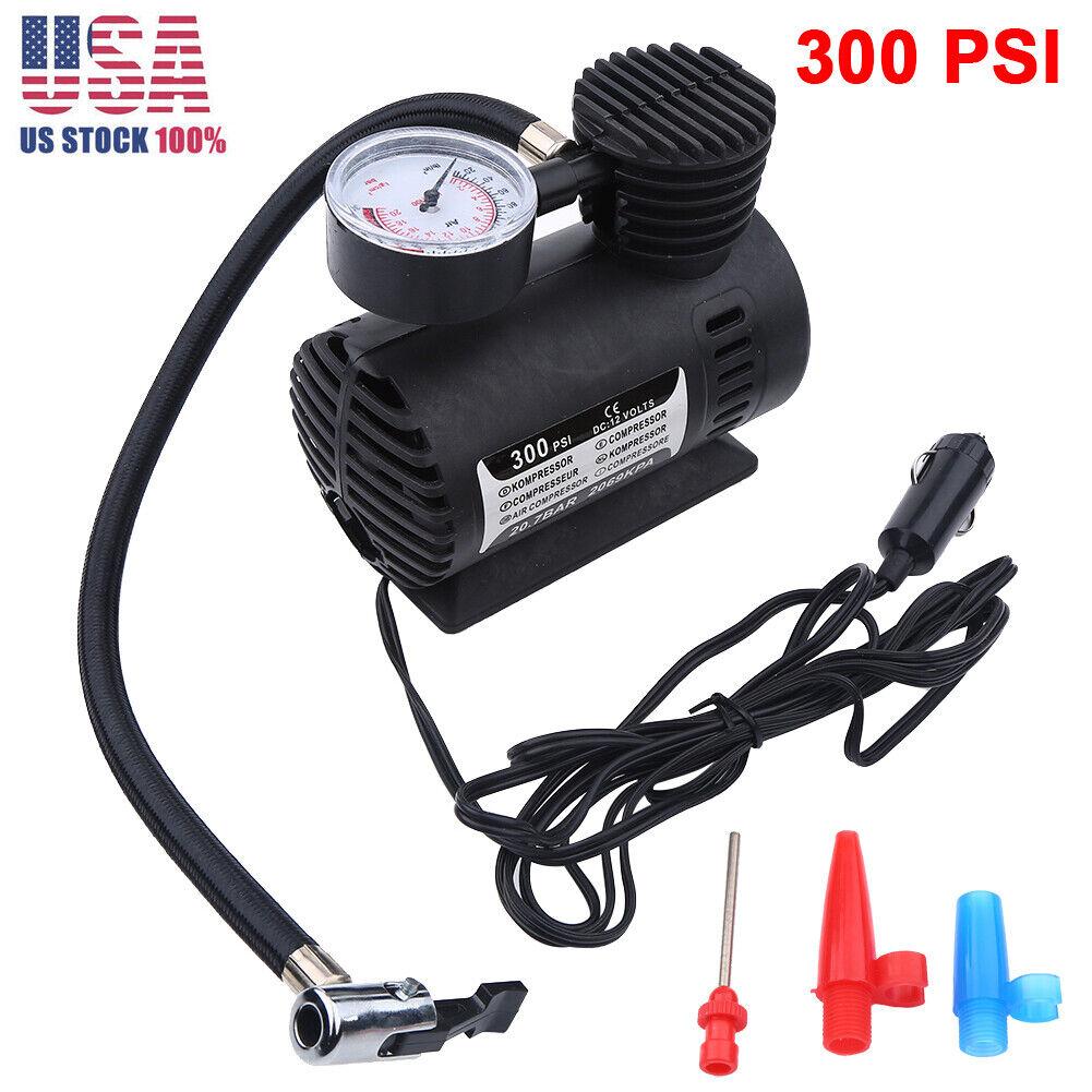 300 PSI 12V Car Auto Bike Portable Tire Air Compressor Electric Pump Inflator*s