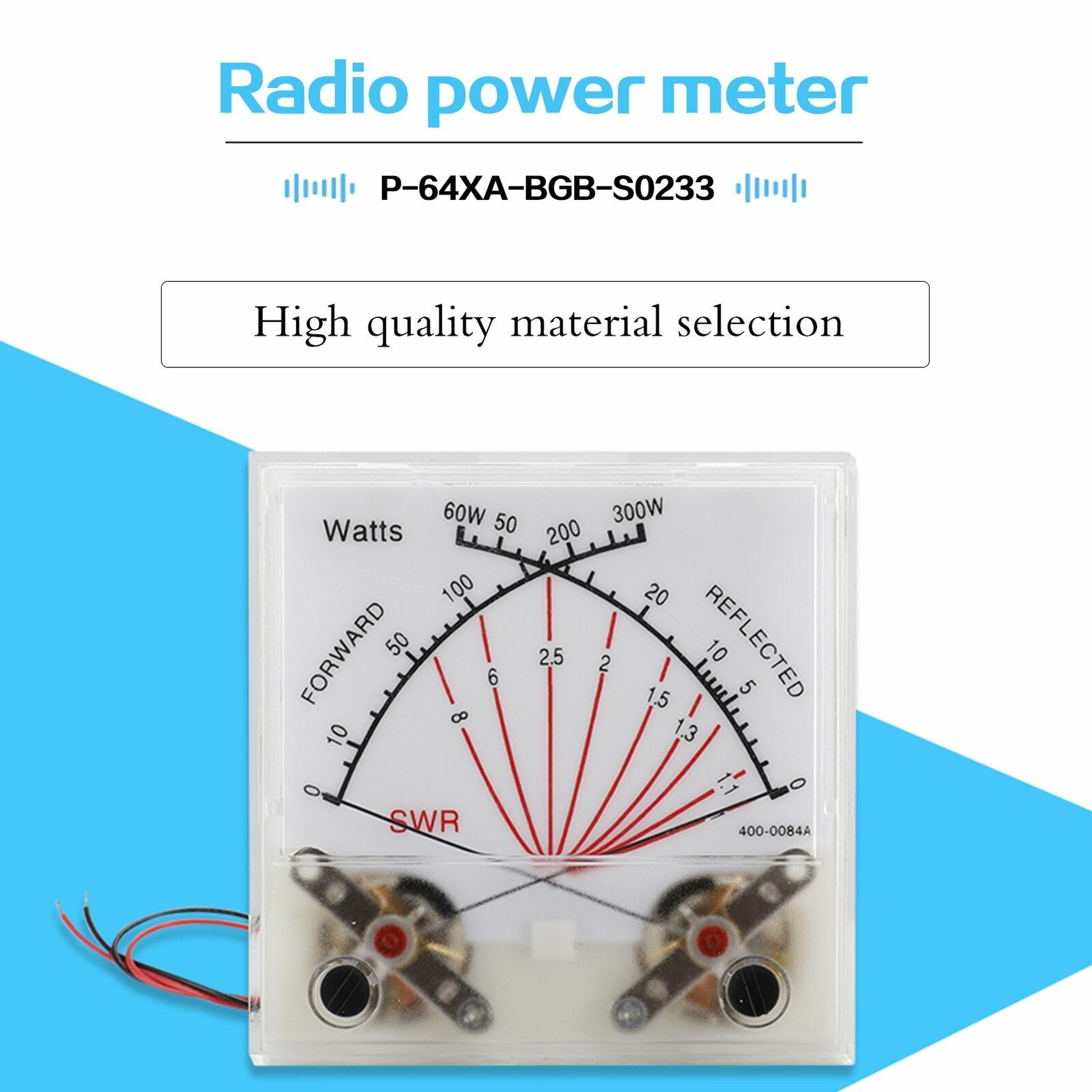 luiyuill 60/300W Standing Wave Ratio Meter SWR Radio HF-RF Panel Dual-Pin Forwad w Light