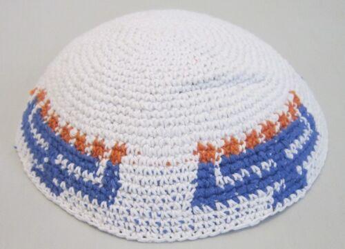 White And Blue Kippah Yarmulke Jewish Judaica Yamaka 16\18cm 6.2\7inch Menorah