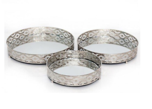 Candle /& Tealight Plate Holder Set Of 3 Silver Trim /& Mirror Table Centerpiece