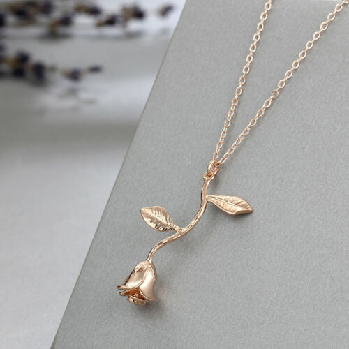 Women/'s Fashion Jewelry Rose Gold Rose Pendant Necklace
