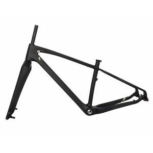 "26er Carbon Fat Bike Frame Fork MTB Snow Bicycle UD Matt BSA QR Thru Axle 4.8"""
