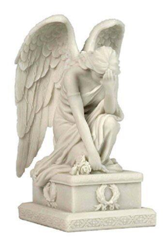 """Garden Memorial Rock Grieving Angel Figurine Cemetery Plaque Grave Statue 8.5/"""""""